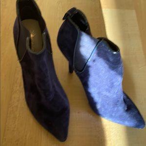 Never worn AS IS blue suede booties  US 6
